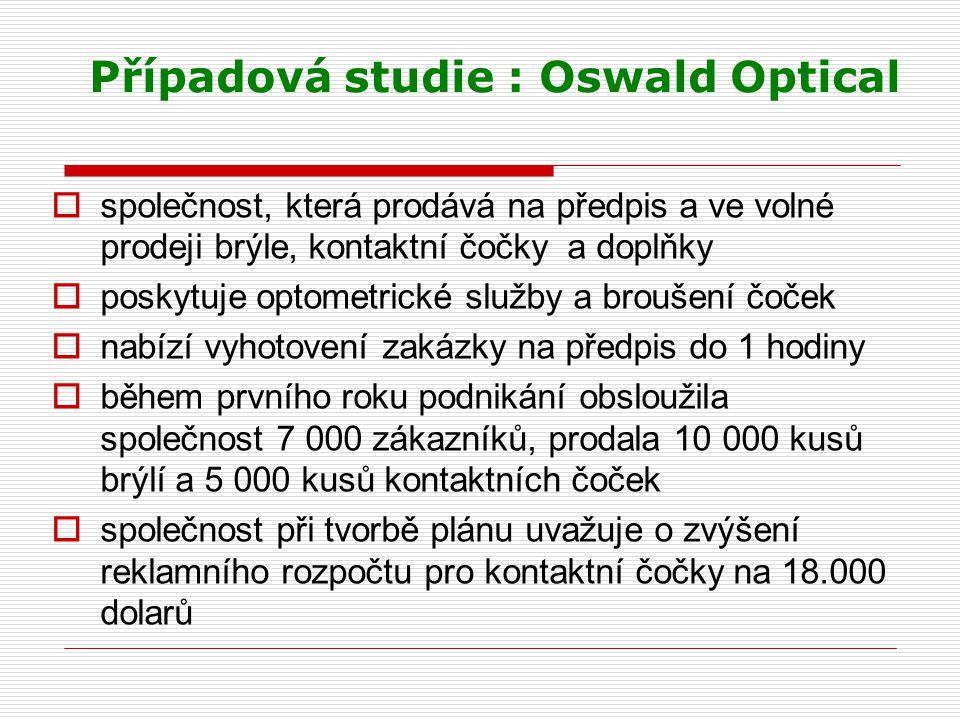 Případová studie : Oswald Optical  společnost, která prodává na předpis a ve volné prodeji brýle, kontaktní čočky a doplňky  poskytuje optometrické