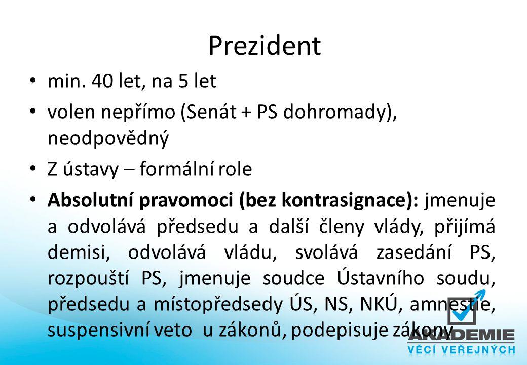 Prezident min. 40 let, na 5 let volen nepřímo (Senát + PS dohromady), neodpovědný Z ústavy – formální role Absolutní pravomoci (bez kontrasignace): jm