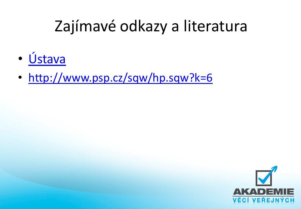 Zajímavé odkazy a literatura Ústava http://www.psp.cz/sqw/hp.sqw?k=6