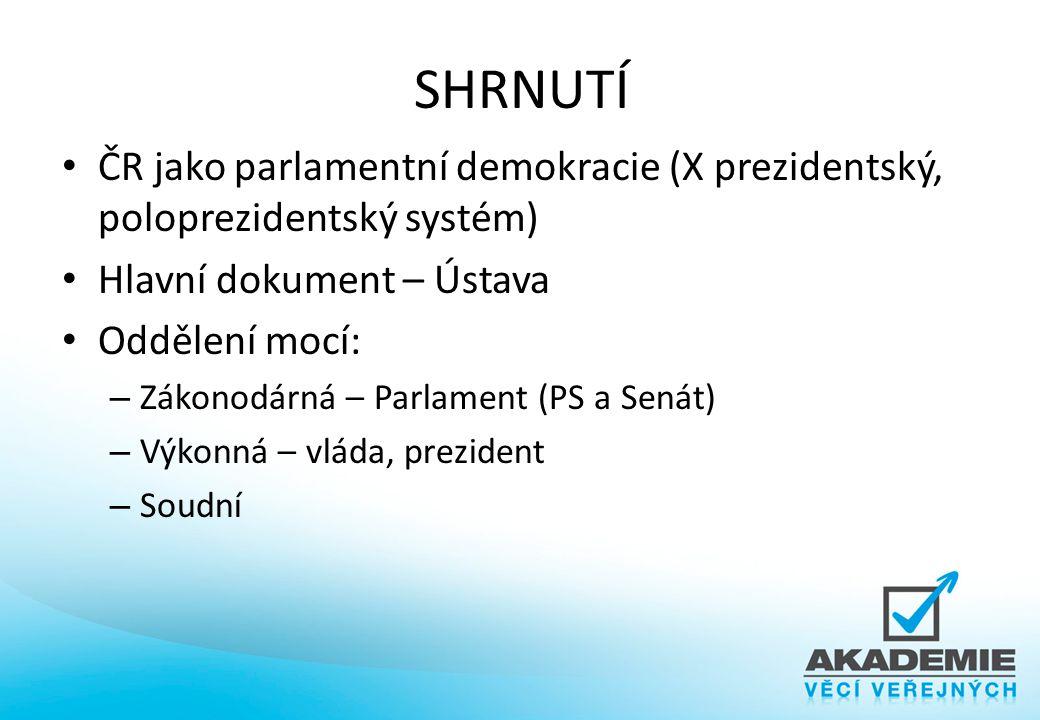 SHRNUTÍ ČR jako parlamentní demokracie (X prezidentský, poloprezidentský systém) Hlavní dokument – Ústava Oddělení mocí: – Zákonodárná – Parlament (PS