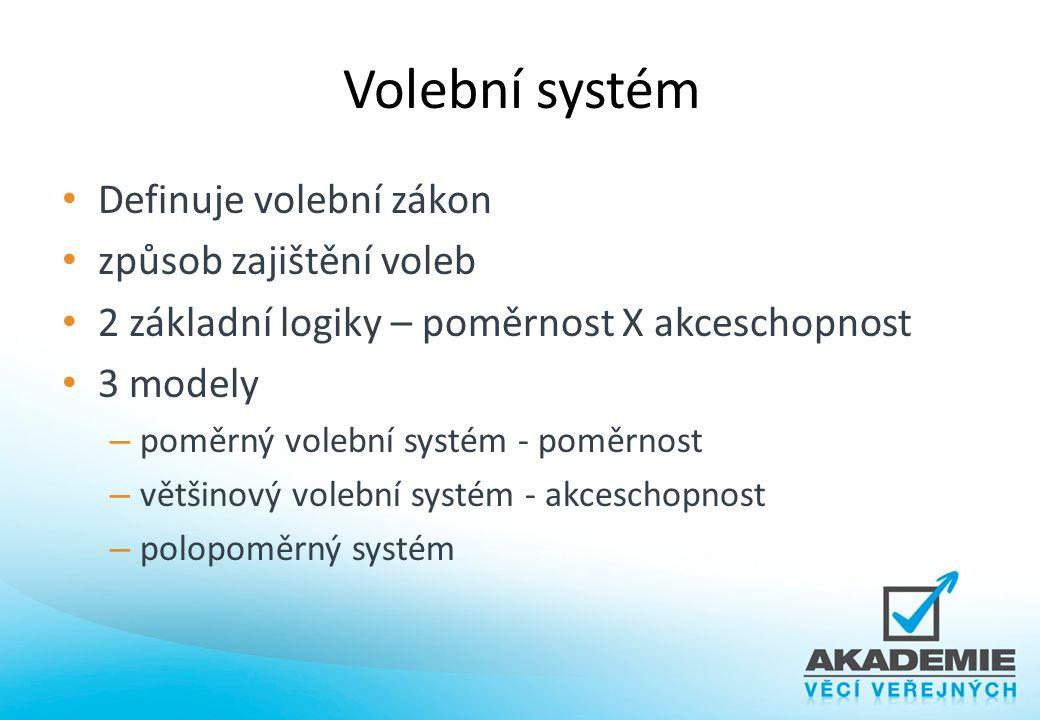 Volební systém Definuje volební zákon způsob zajištění voleb 2 základní logiky – poměrnost X akceschopnost 3 modely – poměrný volební systém - poměrno