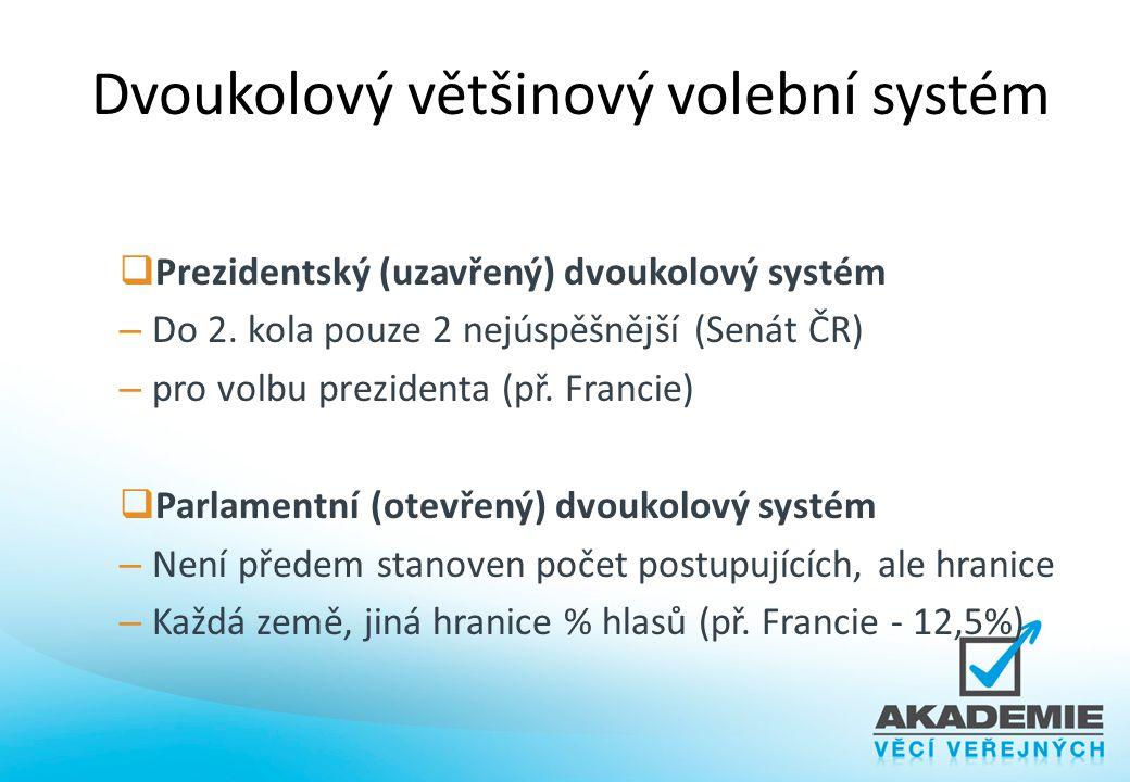 Dvoukolový většinový volební systém  Prezidentský (uzavřený) dvoukolový systém – Do 2. kola pouze 2 nejúspěšnější (Senát ČR) – pro volbu prezidenta (