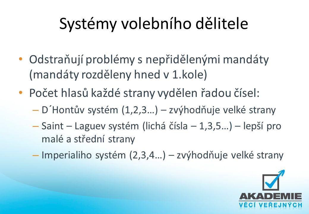 Systémy volebního dělitele Odstraňují problémy s nepřidělenými mandáty (mandáty rozděleny hned v 1.kole) Počet hlasů každé strany vydělen řadou čísel: