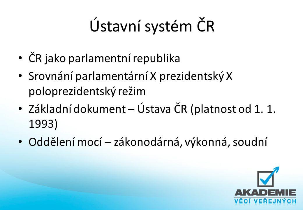 Volební systém Definuje volební zákon způsob zajištění voleb 2 základní logiky – poměrnost X akceschopnost 3 modely – poměrný volební systém - poměrnost – většinový volební systém - akceschopnost – polopoměrný systém
