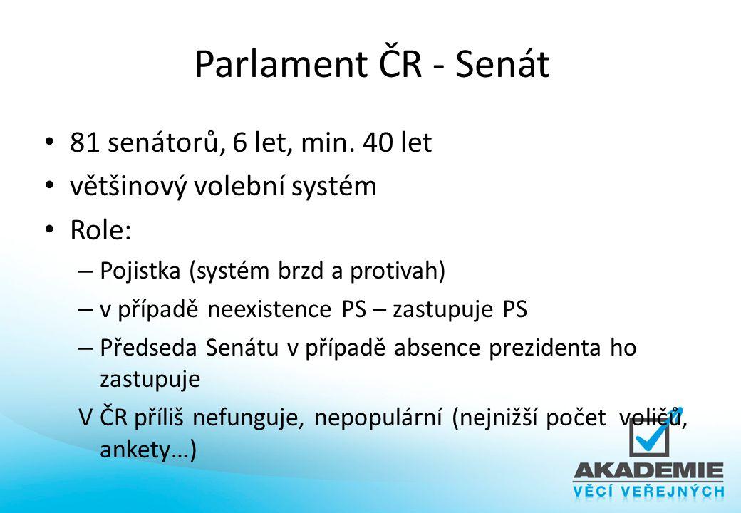 Parlament ČR - Senát 81 senátorů, 6 let, min. 40 let většinový volební systém Role: – Pojistka (systém brzd a protivah) – v případě neexistence PS – z