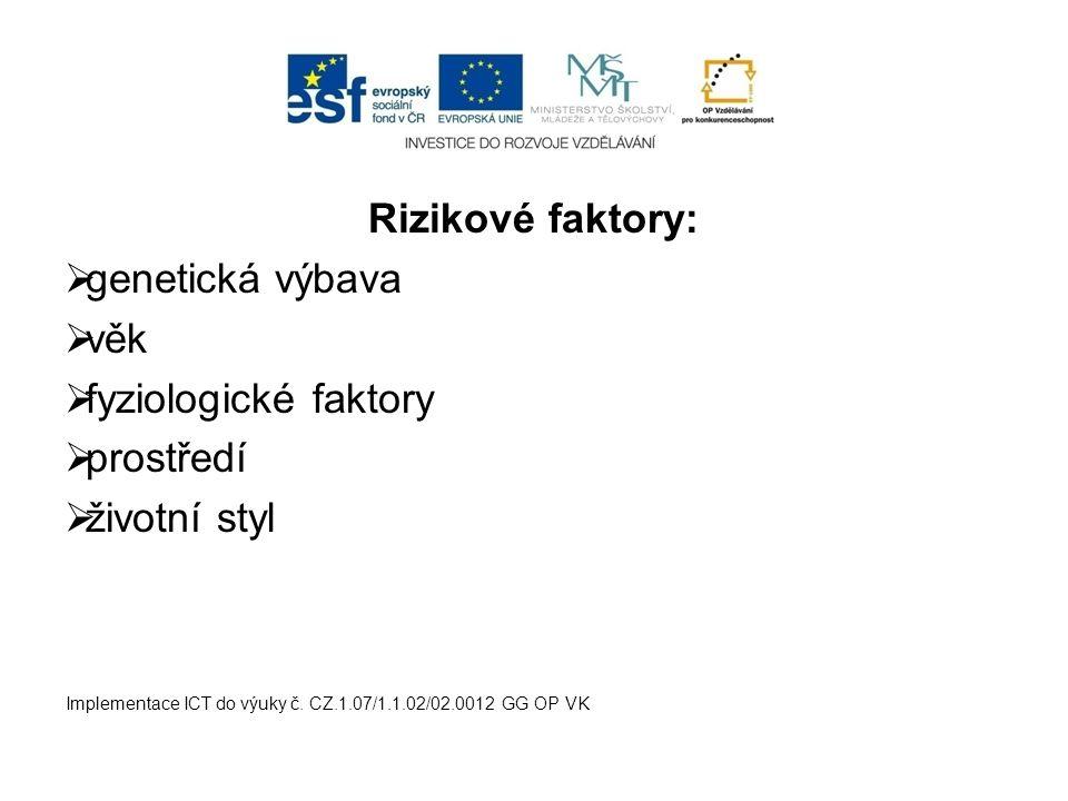 Rizikové faktory:  genetická výbava  věk  fyziologické faktory  prostředí  životní styl Implementace ICT do výuky č. CZ.1.07/1.1.02/02.0012 GG OP