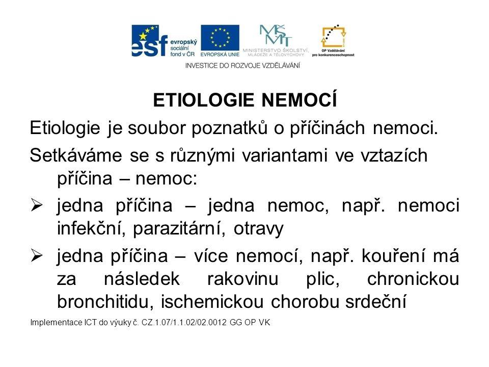 ETIOLOGIE NEMOCÍ Etiologie je soubor poznatků o příčinách nemoci. Setkáváme se s různými variantami ve vztazích příčina – nemoc:  jedna příčina – jed
