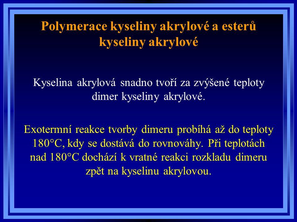 Polymerace kyseliny akrylové a esterů kyseliny akrylové Kyselina akrylová snadno tvoří za zvýšené teploty dimer kyseliny akrylové. Exotermní reakce tv