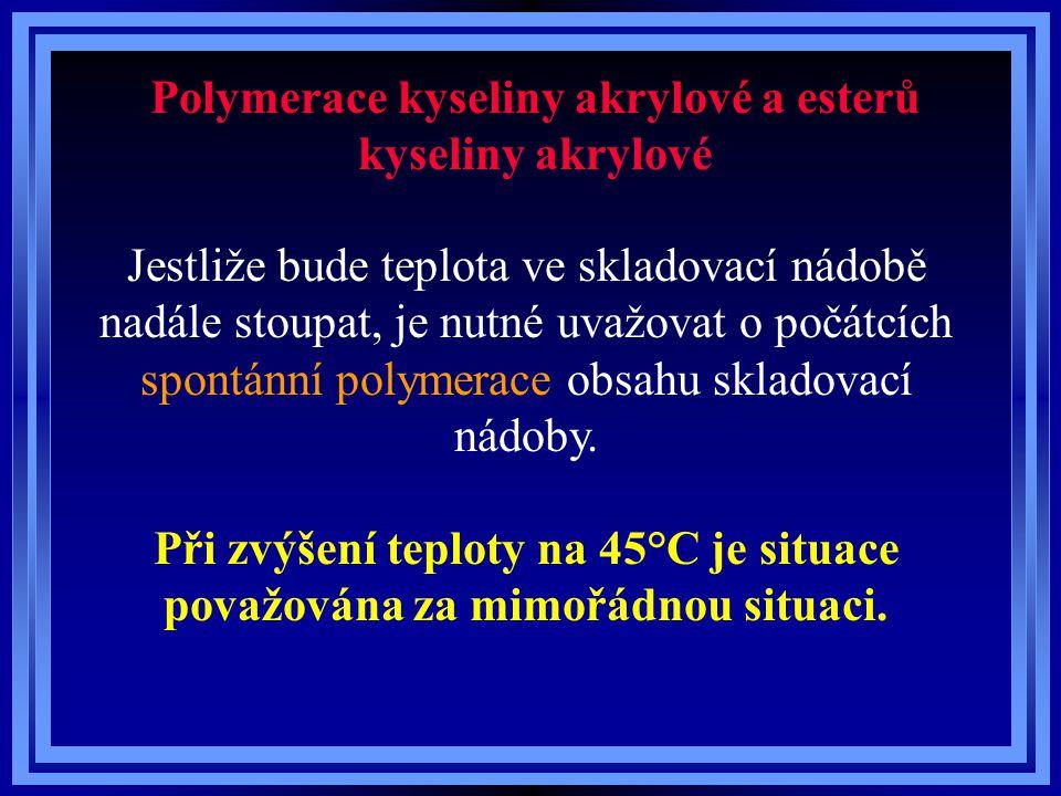Polymerace kyseliny akrylové a esterů kyseliny akrylové Jestliže bude teplota ve skladovací nádobě nadále stoupat, je nutné uvažovat o počátcích spont