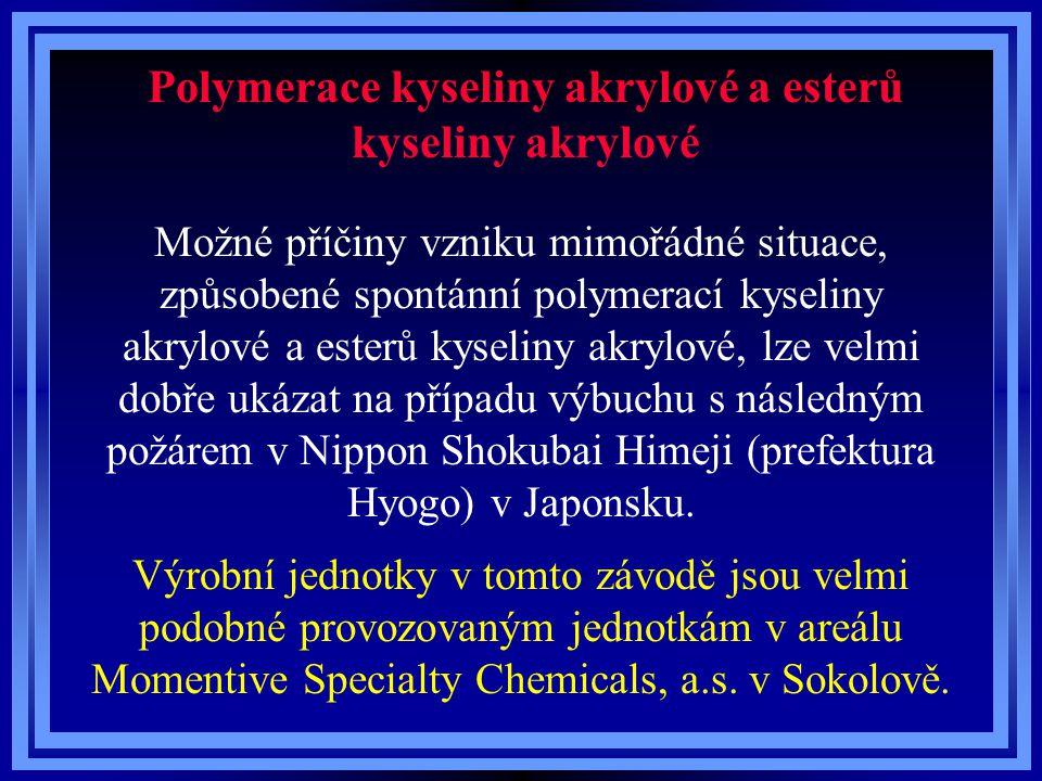 Polymerace kyseliny akrylové a esterů kyseliny akrylové Možné příčiny vzniku mimořádné situace, způsobené spontánní polymerací kyseliny akrylové a est