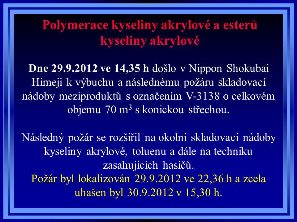 Polymerace kyseliny akrylové a esterů kyseliny akrylové Dne 29.9.2012 ve 14,35 h došlo v Nippon Shokubai Himeji k výbuchu a následnému požáru skladova