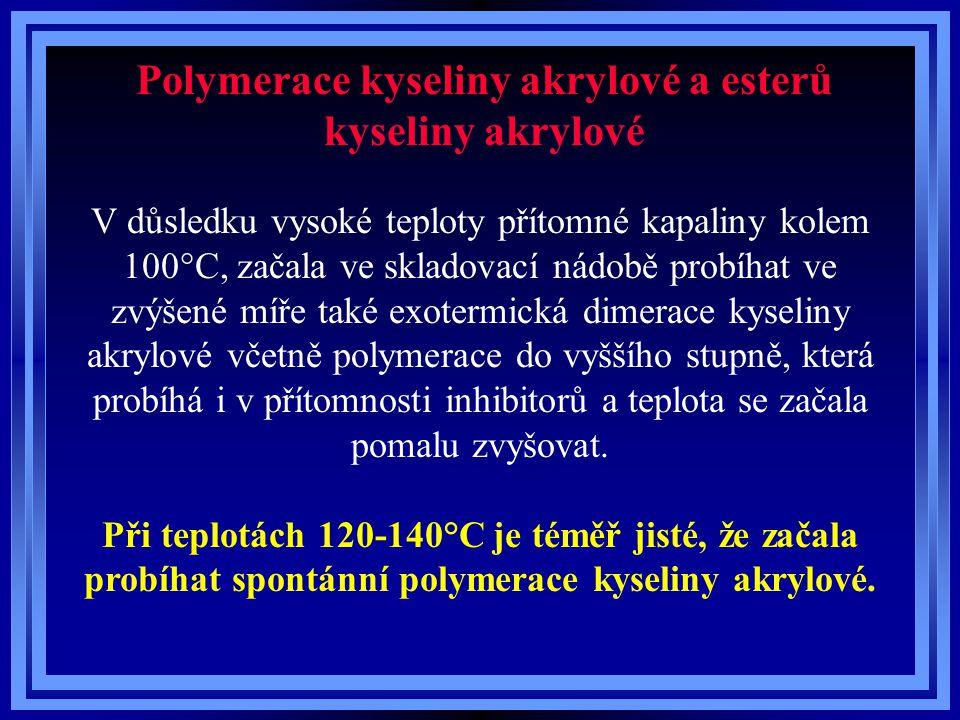 Polymerace kyseliny akrylové a esterů kyseliny akrylové V důsledku vysoké teploty přítomné kapaliny kolem 100°C, začala ve skladovací nádobě probíhat