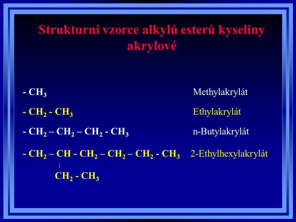 Strukturní vzorce alkylů esterů kyseliny akrylové - CH 3 Methylakrylát - CH 2 - CH 3 Ethylakrylát n-Butylakrylát- CH 2 – CH 2 – CH 2 - CH 3 - CH 2 – C