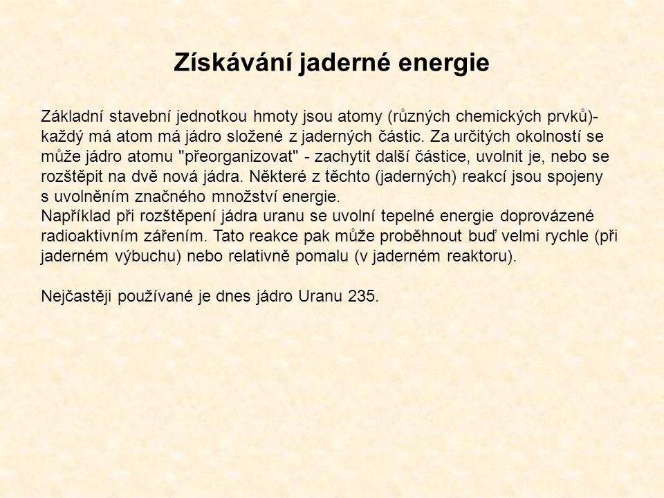Získávání jaderné energie Základní stavební jednotkou hmoty jsou atomy (různých chemických prvků)- každý má atom má jádro složené z jaderných částic.