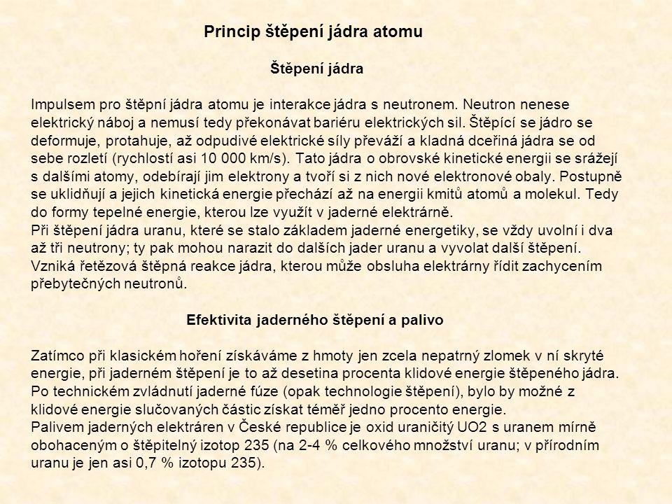 Princip štěpení jádra atomu Štěpení jádra Impulsem pro štěpní jádra atomu je interakce jádra s neutronem. Neutron nenese elektrický náboj a nemusí ted