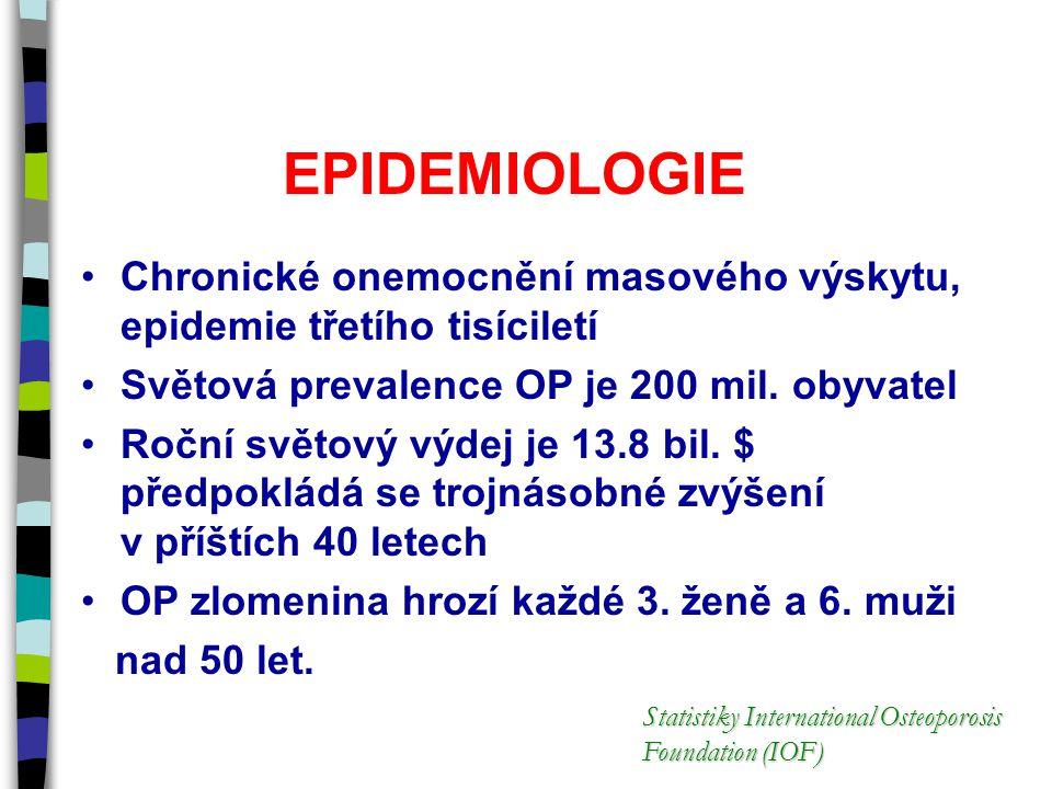 EPIDEMIOLOGIE Chronické onemocnění masového výskytu, epidemie třetího tisíciletí Světová prevalence OP je 200 mil. obyvatel Roční světový výdej je 13.