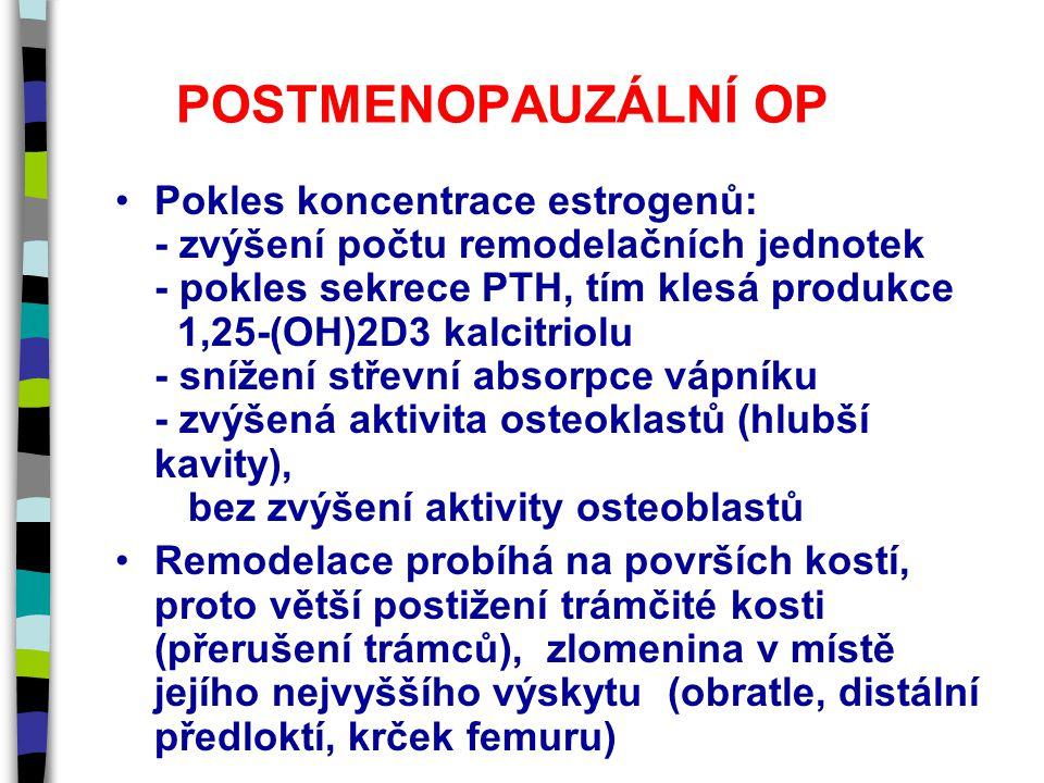 POSTMENOPAUZÁLNÍ OP Pokles koncentrace estrogenů: - zvýšení počtu remodelačních jednotek - pokles sekrece PTH, tím klesá produkce 1,25-(OH)2D3 kalcitriolu - snížení střevní absorpce vápníku - zvýšená aktivita osteoklastů (hlubší kavity), bez zvýšení aktivity osteoblastů Remodelace probíhá na površích kostí, proto větší postižení trámčité kosti (přerušení trámců), zlomenina v místě jejího nejvyššího výskytu (obratle, distální předloktí, krček femuru)