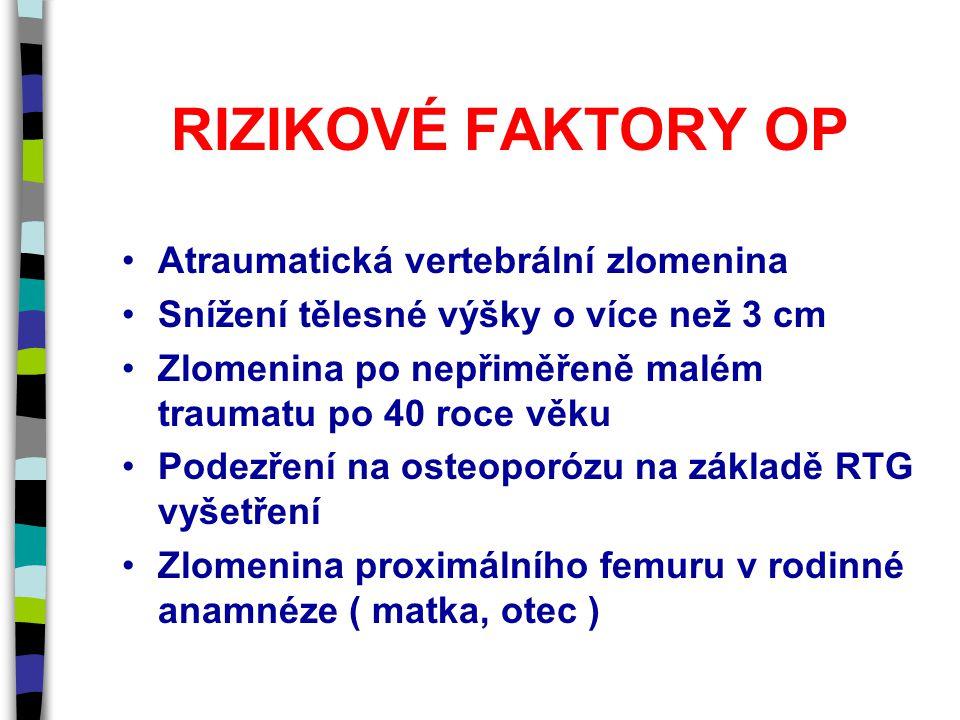 RIZIKOVÉ FAKTORY OP Atraumatická vertebrální zlomenina Snížení tělesné výšky o více než 3 cm Zlomenina po nepřiměřeně malém traumatu po 40 roce věku Podezření na osteoporózu na základě RTG vyšetření Zlomenina proximálního femuru v rodinné anamnéze ( matka, otec )