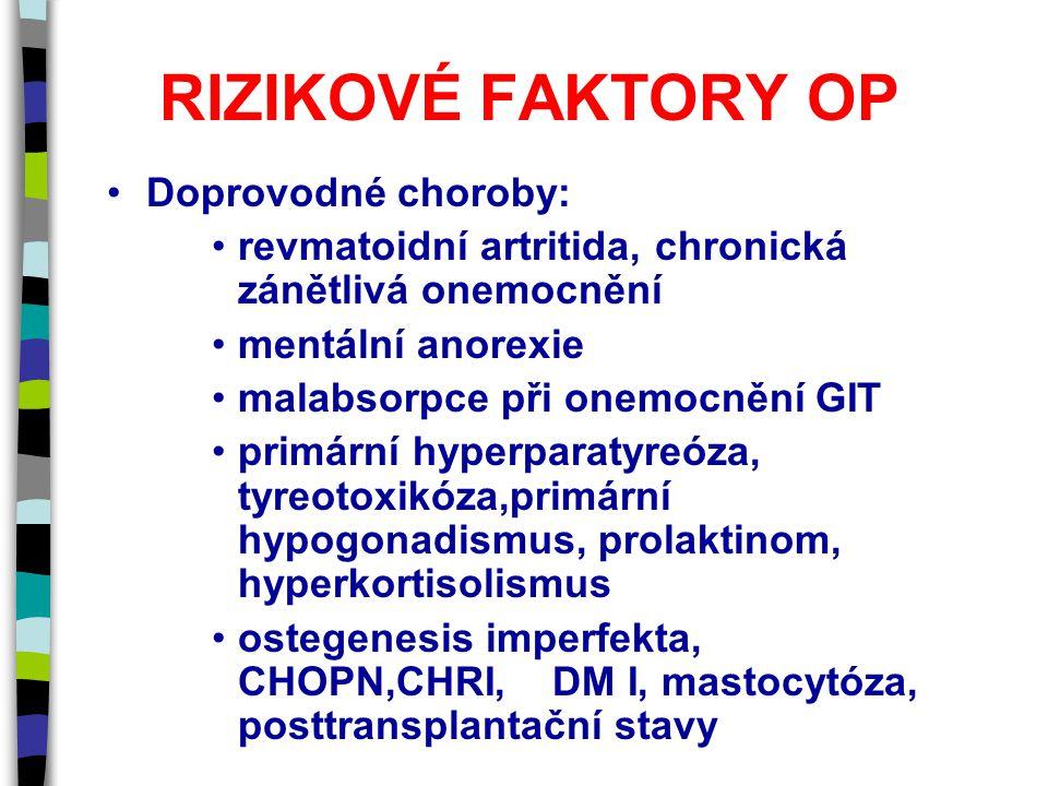 RIZIKOVÉ FAKTORY OP Doprovodné choroby: revmatoidní artritida, chronická zánětlivá onemocnění mentální anorexie malabsorpce při onemocnění GIT primární hyperparatyreóza, tyreotoxikóza,primární hypogonadismus, prolaktinom, hyperkortisolismus ostegenesis imperfekta, CHOPN,CHRI, DM I, mastocytóza, posttransplantační stavy