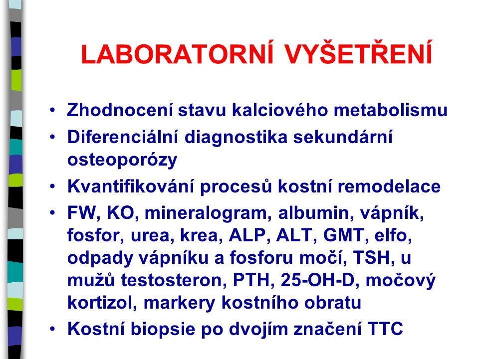 LABORATORNÍ VYŠETŘENÍ Zhodnocení stavu kalciového metabolismu Diferenciální diagnostika sekundární osteoporózy Kvantifikování procesů kostní remodelace FW, KO, mineralogram, albumin, vápník, fosfor, urea, krea, ALP, ALT, GMT, elfo, odpady vápníku a fosforu močí, TSH, u mužů testosteron, PTH, 25-OH-D, močový kortizol, markery kostního obratu Kostní biopsie po dvojím značení TTC