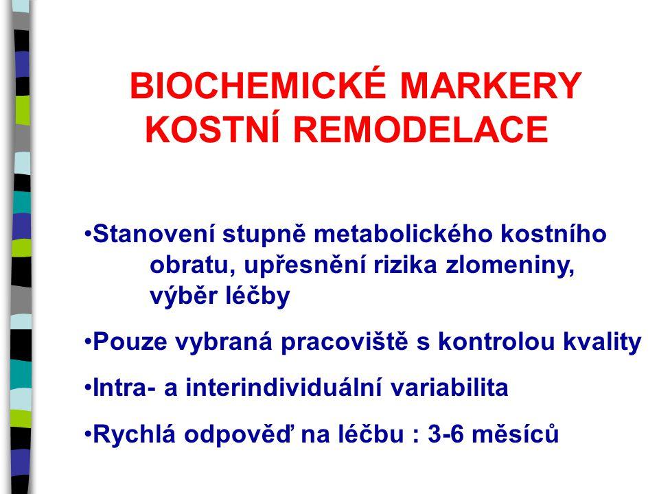 BIOCHEMICKÉ MARKERY KOSTNÍ REMODELACE Stanovení stupně metabolického kostního obratu, upřesnění rizika zlomeniny, výběr léčby Pouze vybraná pracoviště s kontrolou kvality Intra- a interindividuální variabilita Rychlá odpověď na léčbu : 3-6 měsíců