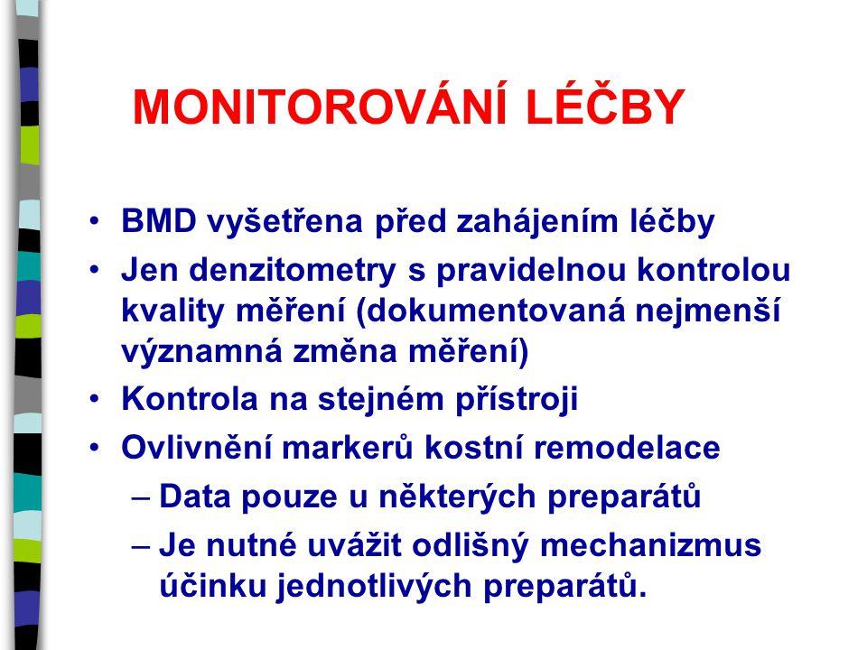 MONITOROVÁNÍ LÉČBY BMD vyšetřena před zahájením léčby Jen denzitometry s pravidelnou kontrolou kvality měření (dokumentovaná nejmenší významná změna měření) Kontrola na stejném přístroji Ovlivnění markerů kostní remodelace –Data pouze u některých preparátů –Je nutné uvážit odlišný mechanizmus účinku jednotlivých preparátů.