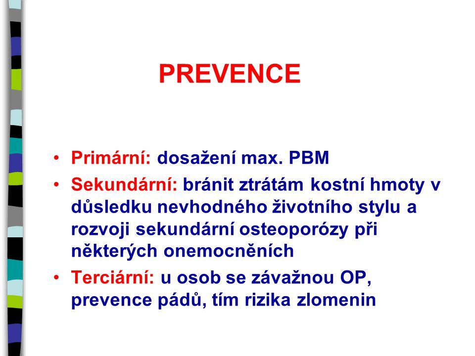 PREVENCE Primární: dosažení max. PBM Sekundární: bránit ztrátám kostní hmoty v důsledku nevhodného životního stylu a rozvoji sekundární osteoporózy př