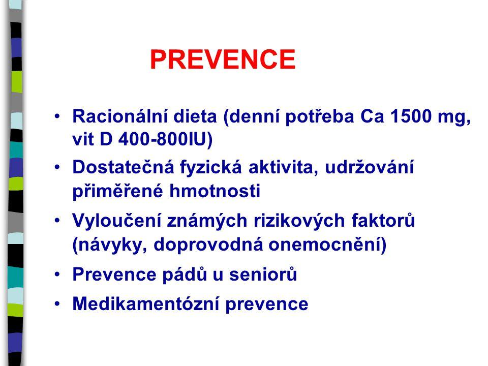 PREVENCE Racionální dieta (denní potřeba Ca 1500 mg, vit D 400-800IU) Dostatečná fyzická aktivita, udržování přiměřené hmotnosti Vyloučení známých rizikových faktorů (návyky, doprovodná onemocnění) Prevence pádů u seniorů Medikamentózní prevence