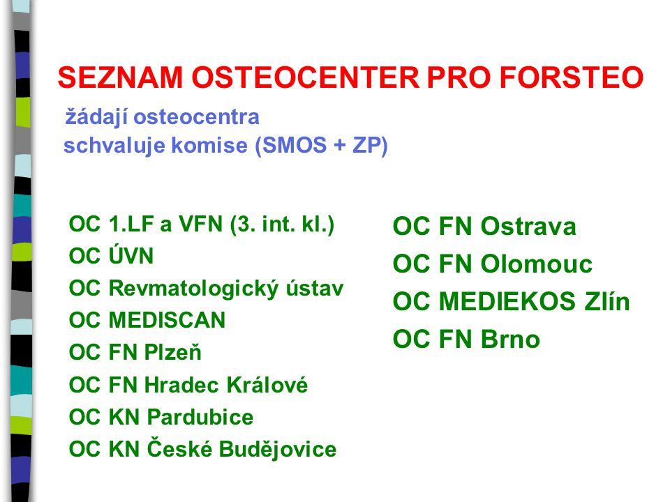 SEZNAM OSTEOCENTER PRO FORSTEO žádají osteocentra schvaluje komise (SMOS + ZP) OC 1.LF a VFN (3. int. kl.) OC ÚVN OC Revmatologický ústav OC MEDISCAN