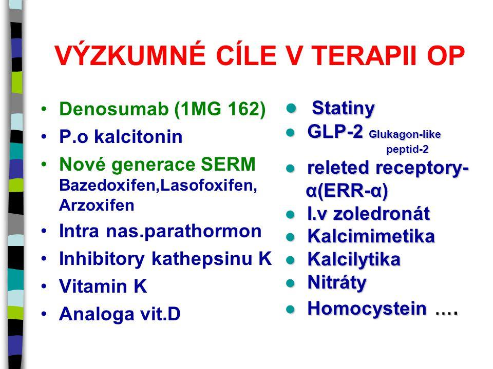VÝZKUMNÉ CÍLE V TERAPII OP Denosumab (1MG 162) P.o kalcitonin Nové generace SERM Bazedoxifen,Lasofoxifen, Arzoxifen Intra nas.parathormon Inhibitory kathepsinu K Vitamin K Analoga vit.D ● Statiny ● GLP-2 Glukagon-like peptid-2 peptid-2 ● releted receptory- α(ERR-α) α(ERR-α) ● I.v zoledronát ● Kalcimimetika ● Kalcilytika ● Nitráty ● Homocystein ….