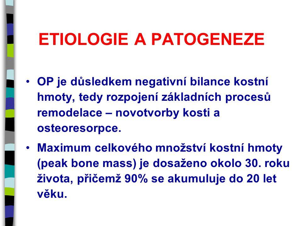 ETIOLOGIE A PATOGENEZE OP je důsledkem negativní bilance kostní hmoty, tedy rozpojení základních procesů remodelace – novotvorby kosti a osteoresorpce.