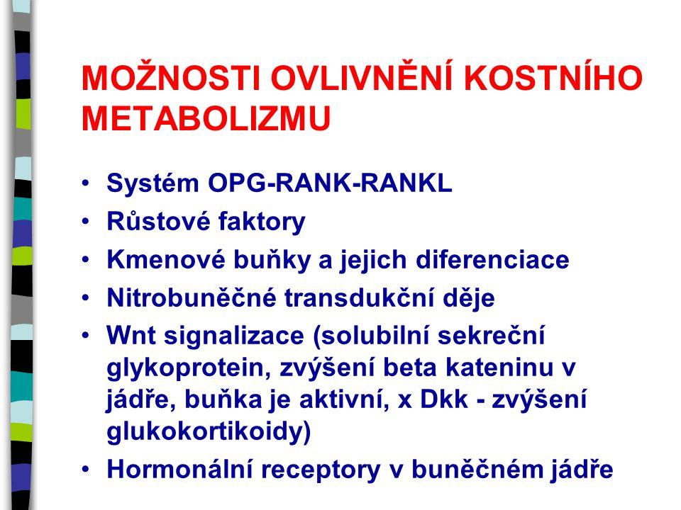 MOŽNOSTI OVLIVNĚNÍ KOSTNÍHO METABOLIZMU Systém OPG-RANK-RANKL Růstové faktory Kmenové buňky a jejich diferenciace Nitrobuněčné transdukční děje Wnt signalizace (solubilní sekreční glykoprotein, zvýšení beta kateninu v jádře, buňka je aktivní, x Dkk - zvýšení glukokortikoidy) Hormonální receptory v buněčném jádře