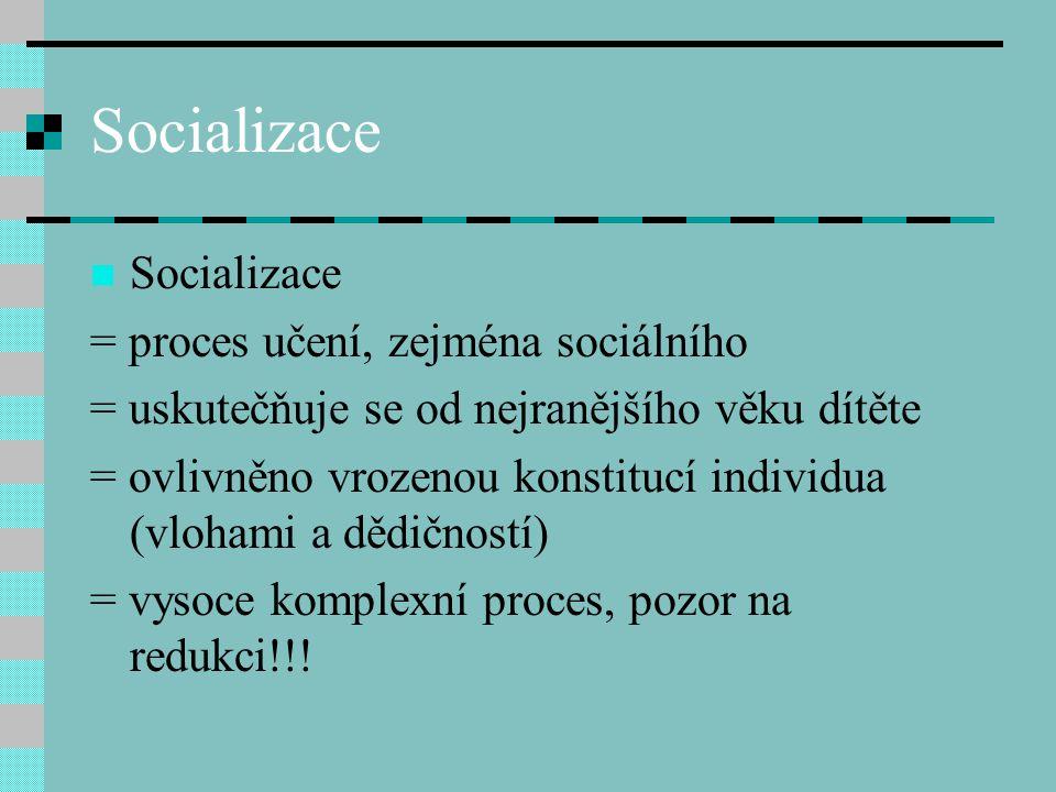 Socializace = proces učení, zejména sociálního = uskutečňuje se od nejranějšího věku dítěte = ovlivněno vrozenou konstitucí individua (vlohami a dědič