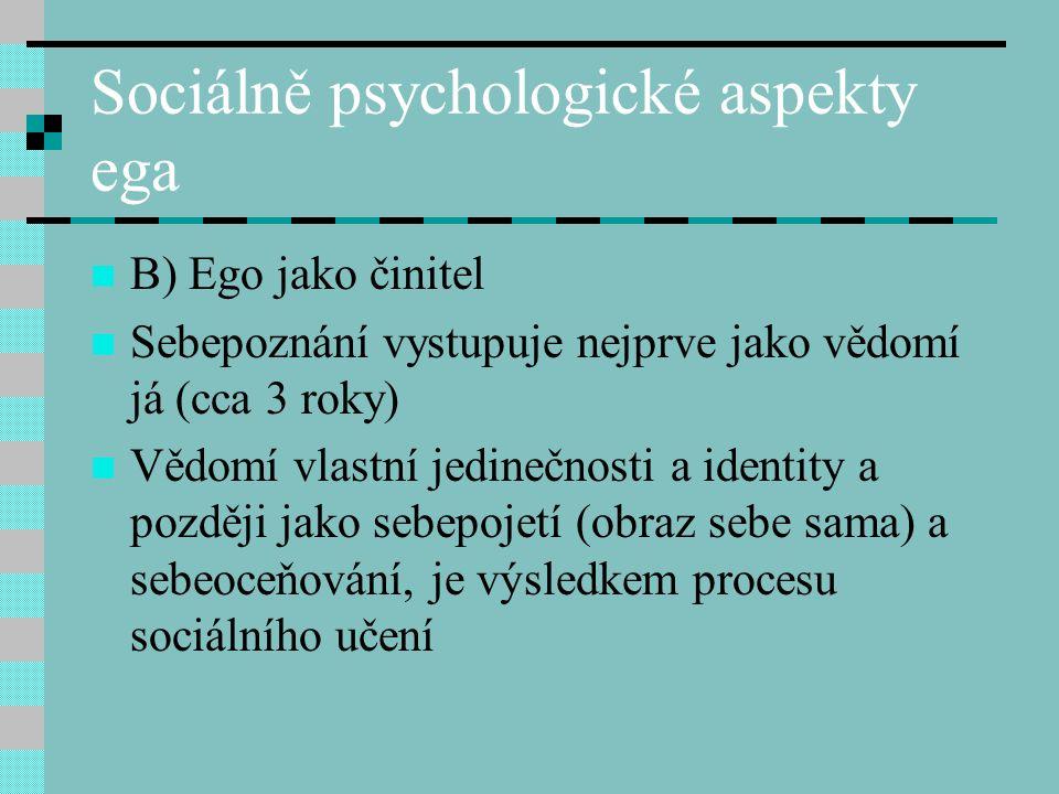 Sociálně psychologické aspekty ega B) Ego jako činitel Sebepoznání vystupuje nejprve jako vědomí já (cca 3 roky) Vědomí vlastní jedinečnosti a identit