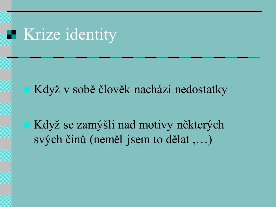 Krize identity Když v sobě člověk nachází nedostatky Když se zamýšlí nad motivy některých svých činů (neměl jsem to dělat,…)