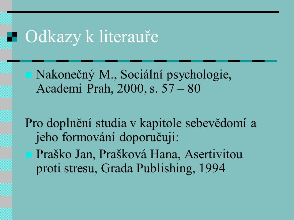 Odkazy k literauře Nakonečný M., Sociální psychologie, Academi Prah, 2000, s. 57 – 80 Pro doplnění studia v kapitole sebevědomí a jeho formování dopor