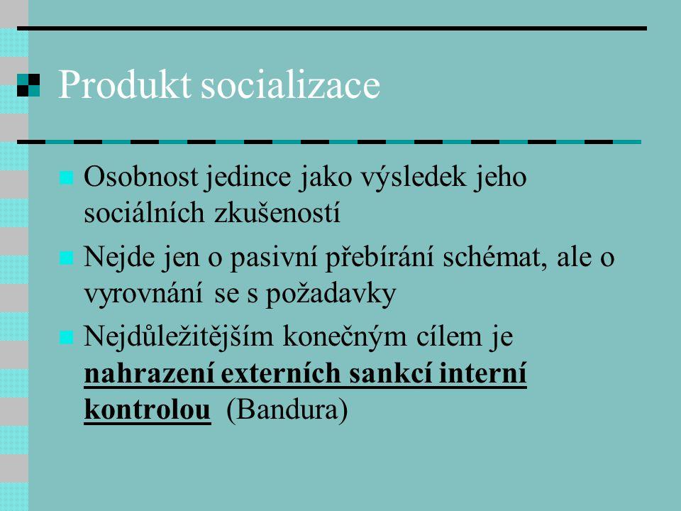 Produkt socializace Osobnost jedince jako výsledek jeho sociálních zkušeností Nejde jen o pasivní přebírání schémat, ale o vyrovnání se s požadavky Ne
