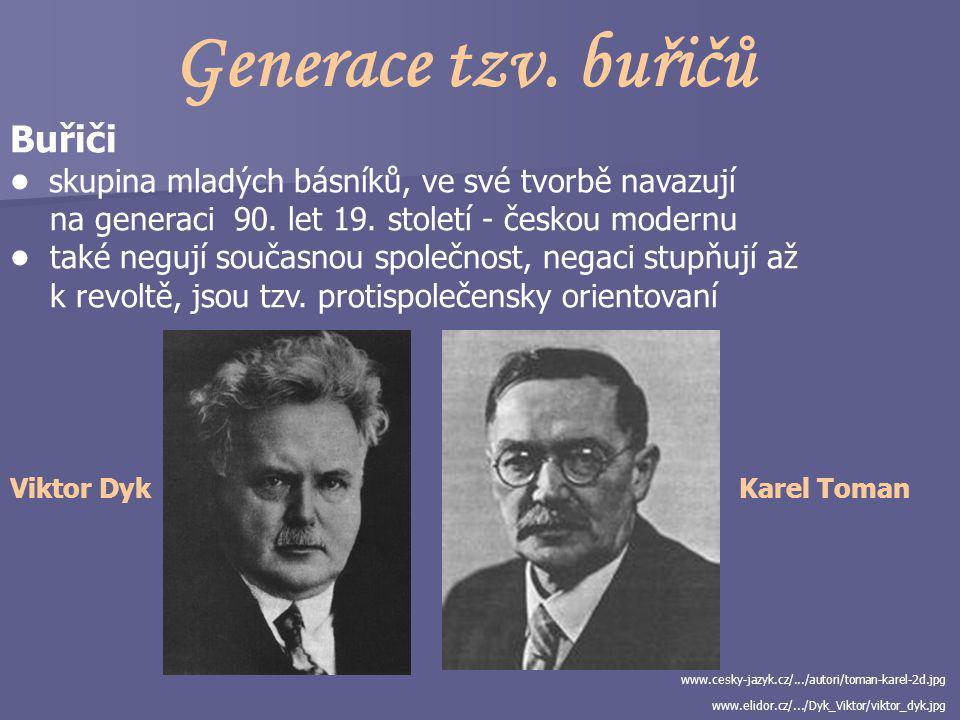 Generace tzv.buřičů Buřiči skupina mladých básníků, ve své tvorbě navazují na generaci 90.