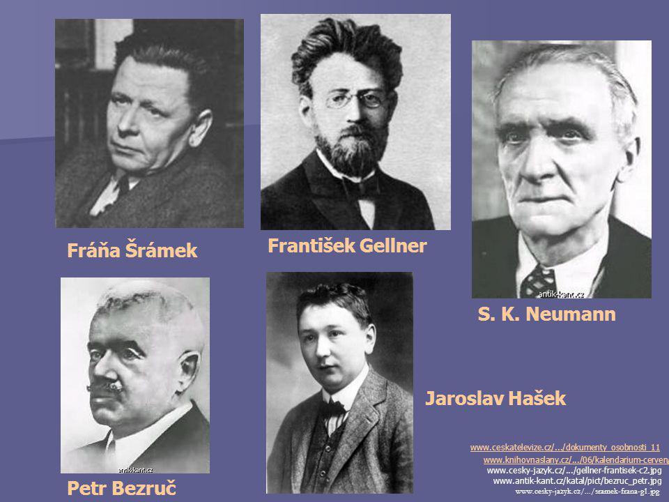 Stanislav Kostka Neumann (1875-1947) www.knihovnaslany.cz/.../06/kalendarium- cerven/ - básník, publicista, prozaik - literární a výtvarný kritik - neúspěšný student (gymnázium, obchodní akademie) - významná kulturně politická osobnost