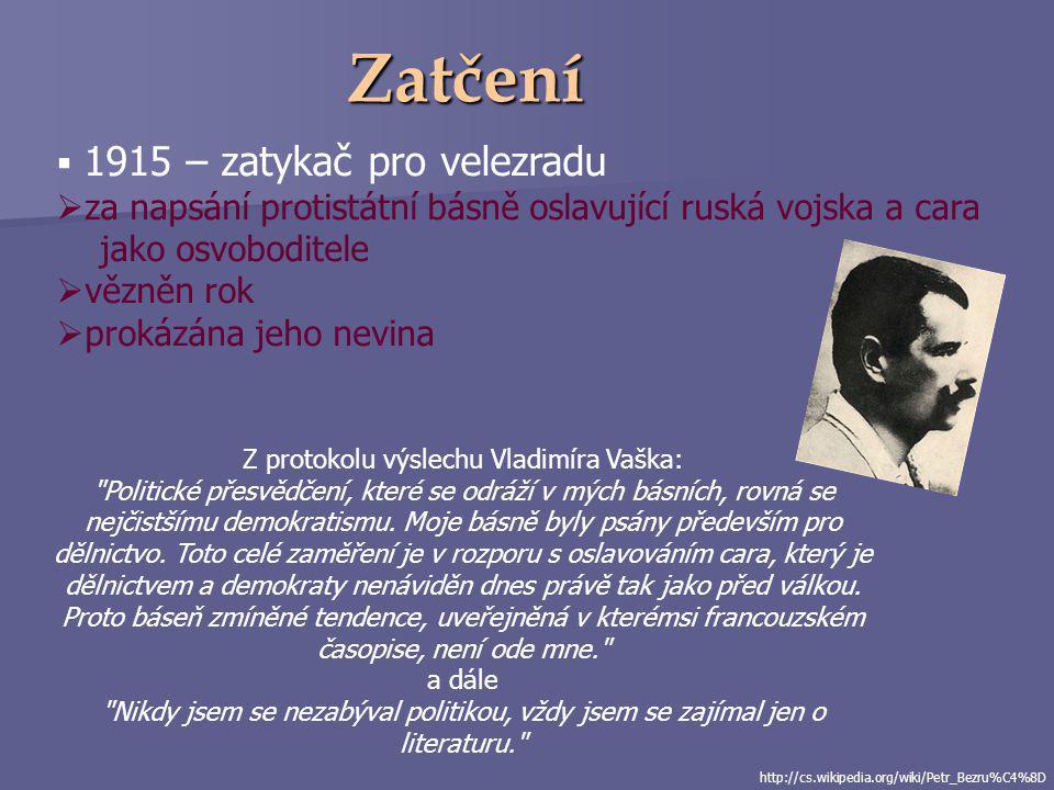 http://ld.johanesville.net/bezruc/zivotopis?bio=1&fig=1 Odchod z Prahy  návrat do Brna  písařem zemského výboru  apatie – rodině nepomáhá, alkohol,