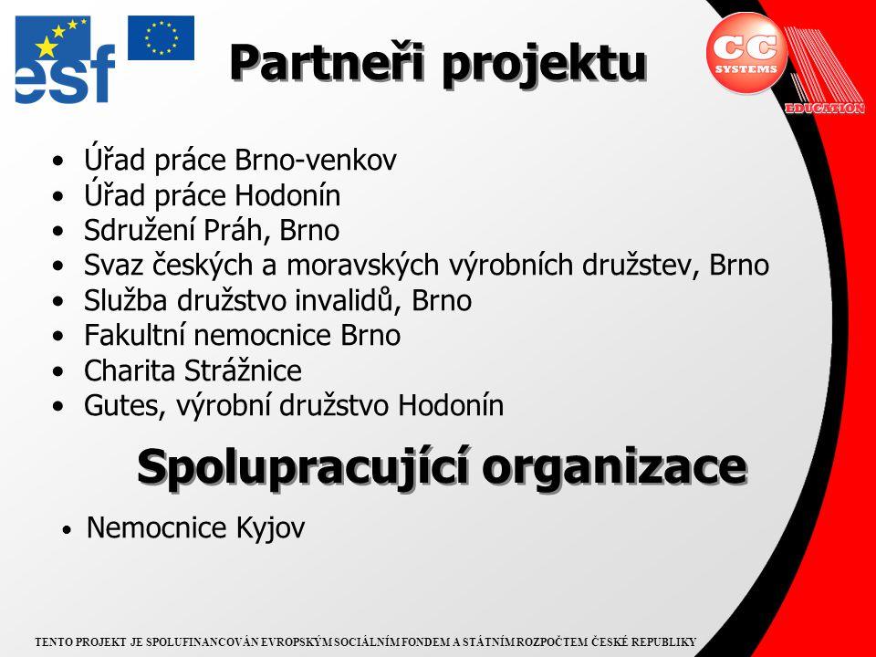 TENTO PROJEKT JE SPOLUFINANCOVÁN EVROPSKÝM SOCIÁLNÍM FONDEM A STÁTNÍM ROZPOČTEM ČESKÉ REPUBLIKY ÚP Brno-venkov ÚP Hodonín http://portal.mpsv.cz výběr cílové skupiny účastníků spolupráce při aktivitách projektu poradenství při práci s klienty pomoc při umisťování klientů do zaměstnání právní pomoc klientům