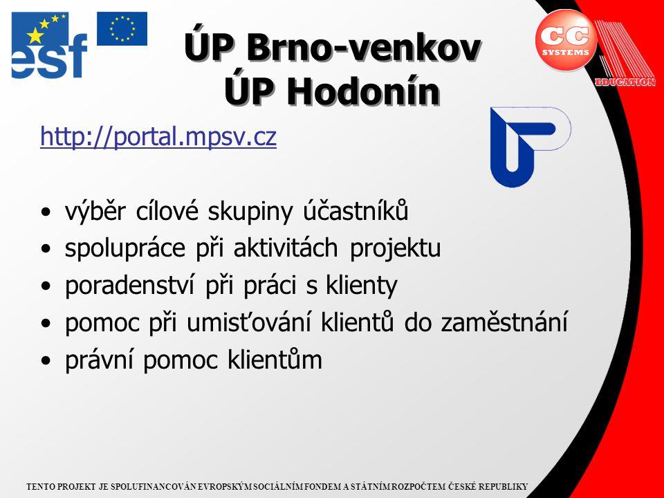 TENTO PROJEKT JE SPOLUFINANCOVÁN EVROPSKÝM SOCIÁLNÍM FONDEM A STÁTNÍM ROZPOČTEM ČESKÉ REPUBLIKY ÚP Brno-venkov ÚP Hodonín http://portal.mpsv.cz výběr