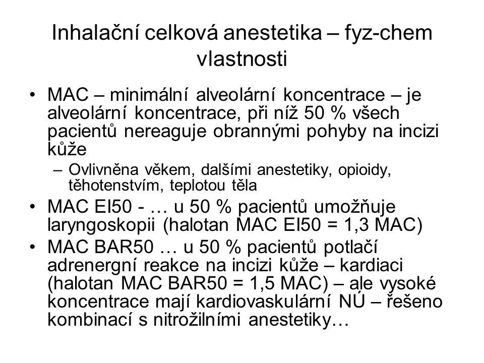 Inhalační celková anestetika – fyz-chem vlastnosti MAC – minimální alveolární koncentrace – je alveolární koncentrace, při níž 50 % všech pacientů ner