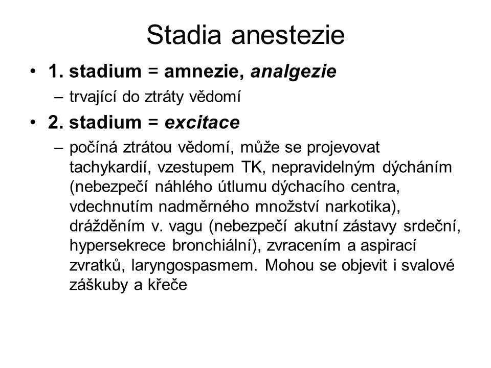 Stadia anestezie 1. stadium = amnezie, analgezie –trvající do ztráty vědomí 2. stadium = excitace –počíná ztrátou vědomí, může se projevovat tachykard