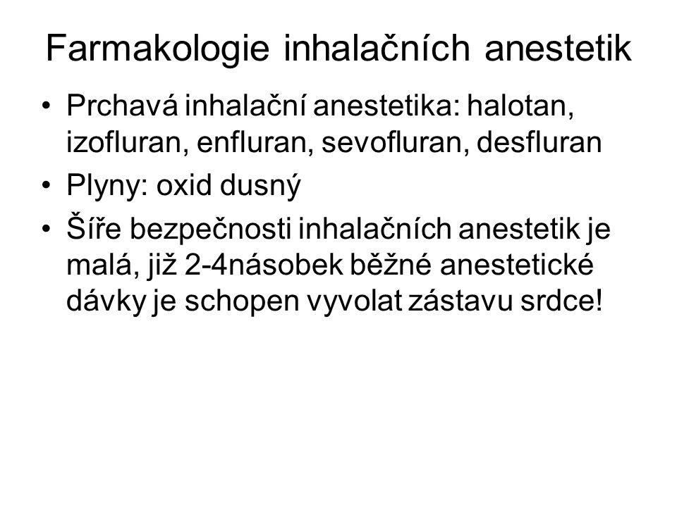 Farmakologie inhalačních anestetik Prchavá inhalační anestetika: halotan, izofluran, enfluran, sevofluran, desfluran Plyny: oxid dusný Šíře bezpečnost