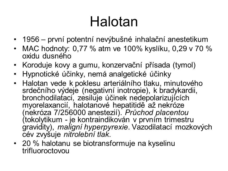 Halotan 1956 – první potentní nevýbušné inhalační anestetikum MAC hodnoty: 0,77 % atm ve 100% kyslíku, 0,29 v 70 % oxidu dusného Koroduje kovy a gumu,