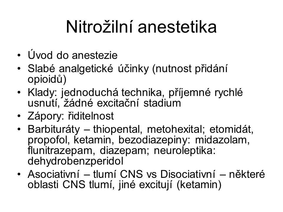 Nitrožilní anestetika Úvod do anestezie Slabé analgetické účinky (nutnost přidání opioidů) Klady: jednoduchá technika, příjemné rychlé usnutí, žádné e