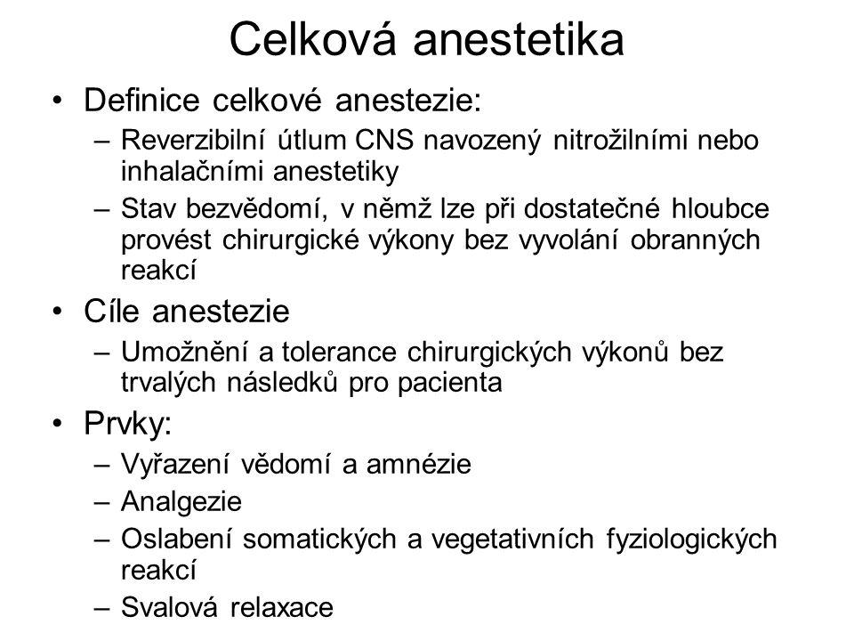 Celková anestetika Definice celkové anestezie: –Reverzibilní útlum CNS navozený nitrožilními nebo inhalačními anestetiky –Stav bezvědomí, v němž lze p