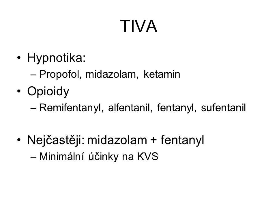 TIVA Hypnotika: –Propofol, midazolam, ketamin Opioidy –Remifentanyl, alfentanil, fentanyl, sufentanil Nejčastěji: midazolam + fentanyl –Minimální účin
