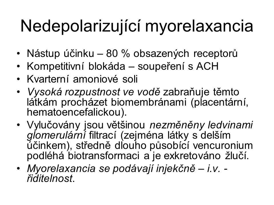 Nedepolarizující myorelaxancia Nástup účinku – 80 % obsazených receptorů Kompetitivní blokáda – soupeření s ACH Kvarterní amoniové soli Vysoká rozpust